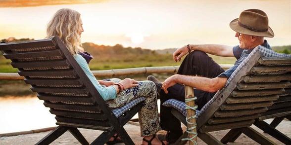 Photo of senior couple talking