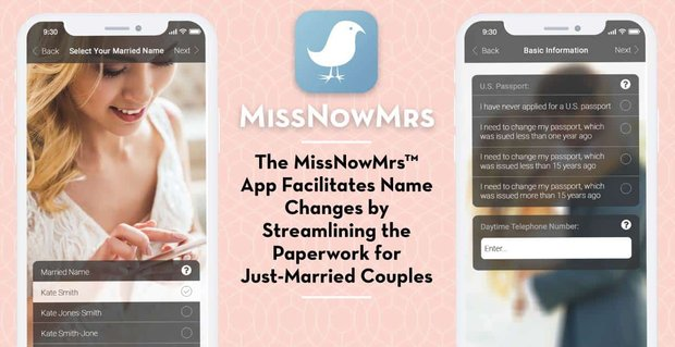 The MissNowMrs™ App Facilitates Name Changes by Streamlining the Paperwork for Just-Married Couples