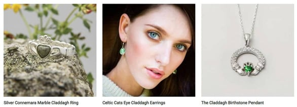 Screenshot of Claddagh products from The Irish Store