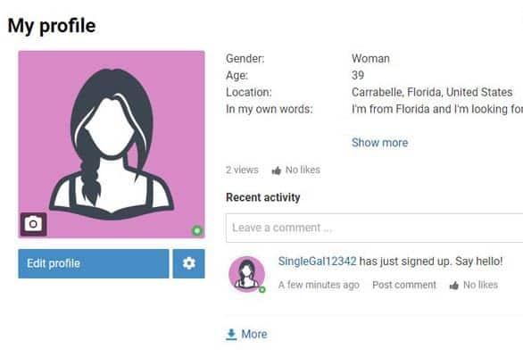 Screenshot of a profile