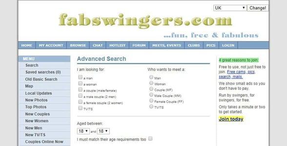 Screenshot of FabSwingers.com