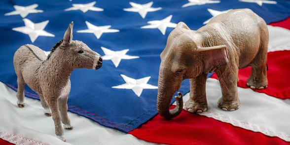 Photo of Democrat donkey and Republican elephant