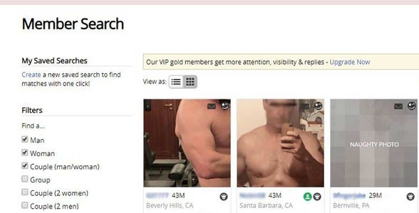 Screenshot of the Adult Friend Finder search page
