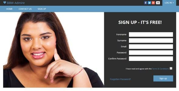 Screenshot of BBWAdmire.com