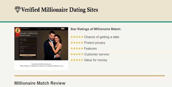 Screenshot of Verified Millionaire Dating Sites