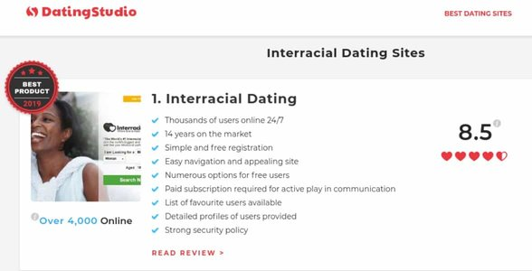 Screenshot of a DatingStudio review