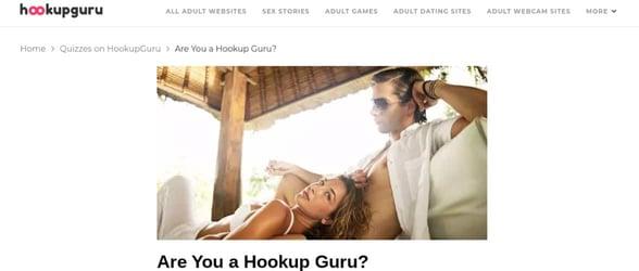 Screenshot of Hookup Guru's quizzes