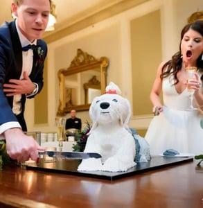 Photo of a Sweet Treets wedding cake shaped like a dog