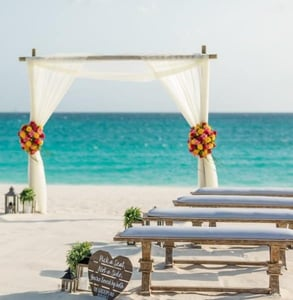 Photo of a wedding on the beach