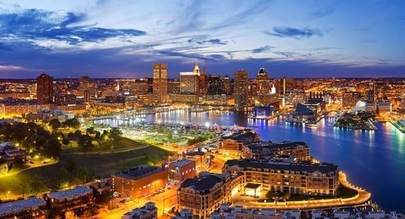 10. Baltimore, Maryland — 101,968 single men