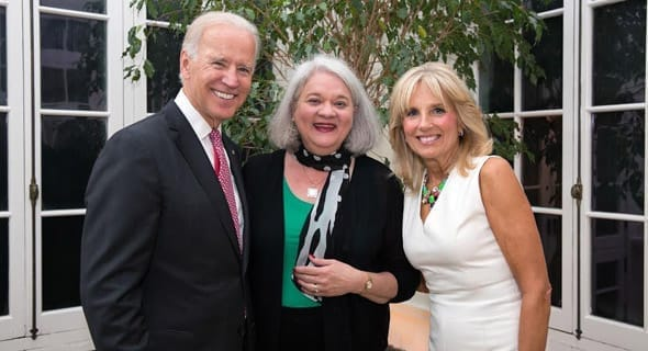NCDSV's President Deborah Tucker with Vice President Joe Biden and Dr. Jill Biden at a celebration of the Violence Against Women Act's passage at their home outside Washington, D.C.