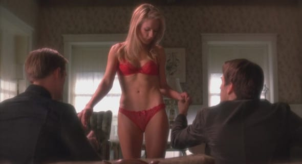 Photo of Sookie, Bill and Eric threesome