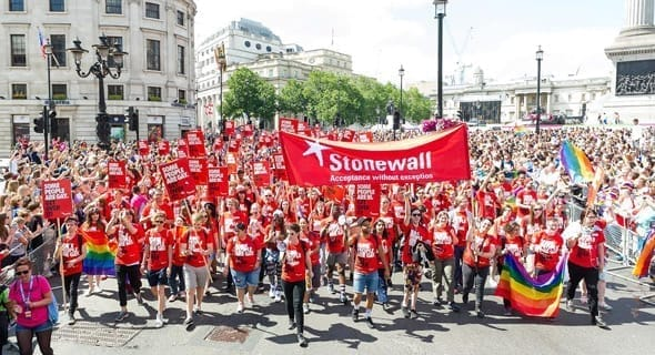 Photo of the Stonewall team leading an LGBT pride march