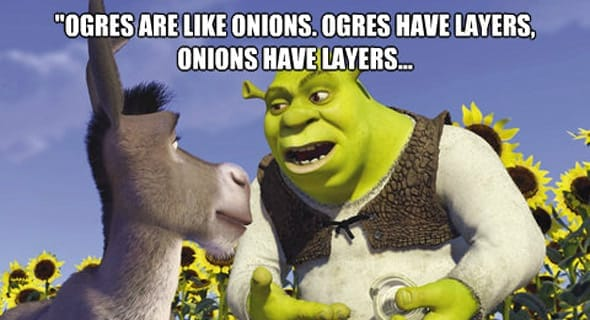 Photo of Shrek with onion layers