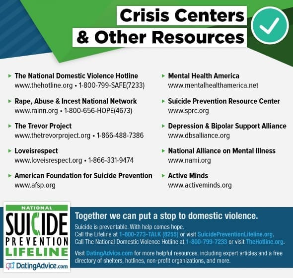 Photo of domestic violence and suicide resources