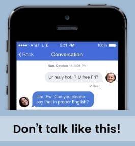 Example message of avoiding netspeak