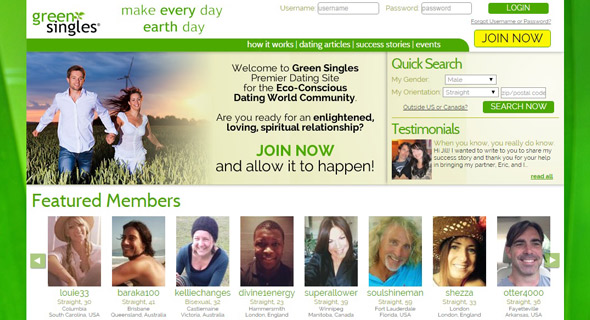 Screenshot of GreenSingles homepage