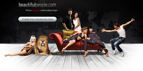Screenshot of BeautifulPeople.com homepage