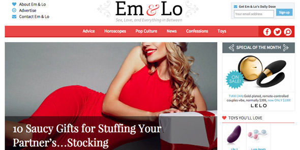 Screenshot of EmandLo.com homepage