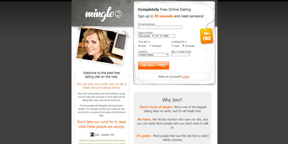 Screenshot of Mingle2.com homepage