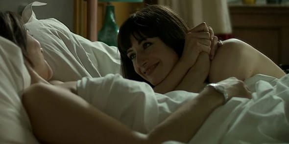 Photo of lesbian couple in bed