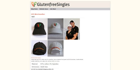 Screenshot of GlutenFreeSingles merchandise