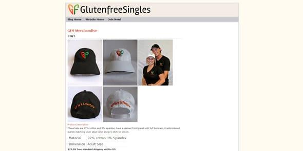 Screenshot of GlutenFreeSingles merchandise