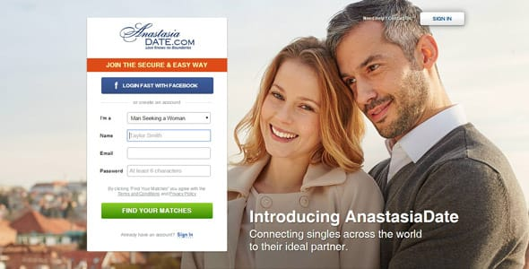 Screenshot of AnastasiaDate.com homepage