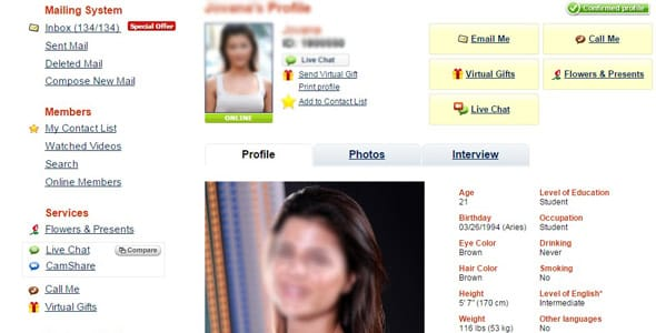Screenshot of a AnastasiaDate.com profile
