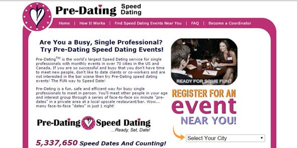 Screenshot of Pre-Dating.com homepage