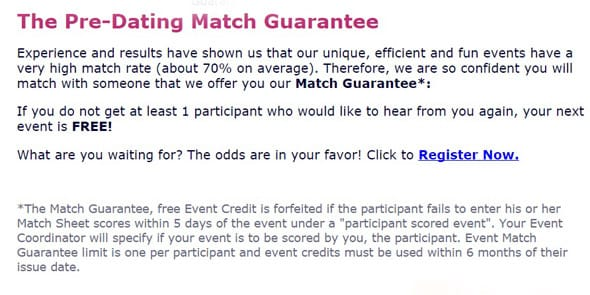 Screenshot of Pre-Dating Match Guarantee