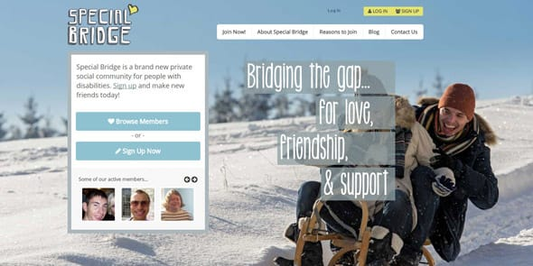 Screenshot of Special Bridge's homepage