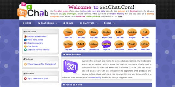 Screenshot of the 321Chat homepage