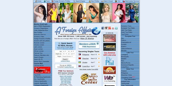 Screenshot of A Foreign Affair's website, loveme.com