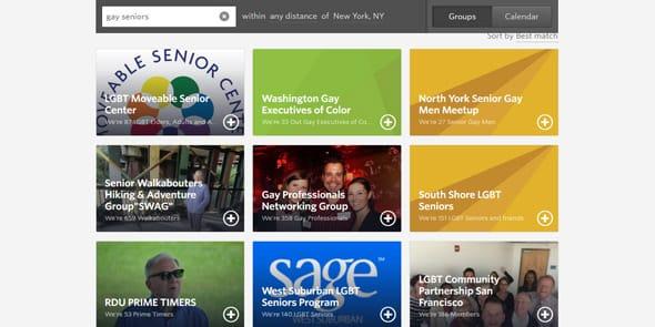 Screenshot of Meetup.com gay senior groups