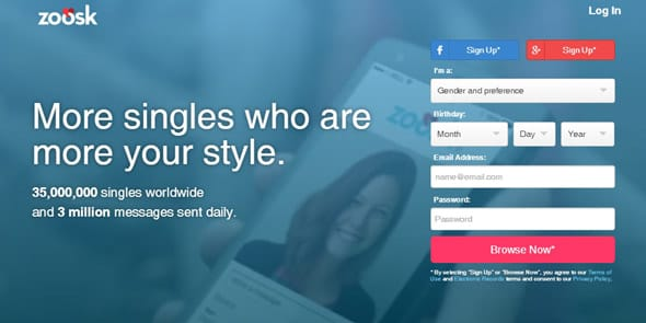 Screenshot of the Zoosk homepage