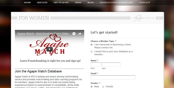 Photo of the Agape Match sign-up page