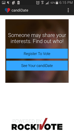 An image of the signup screen for the candiDate dating app