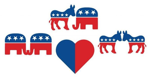 An image of the CandiDate heart with political party animals