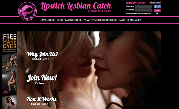A screenshot of Pink Lobster Dating's homepage