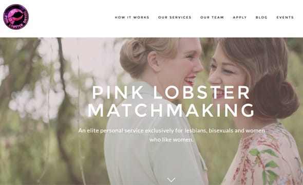 A screenshot of Pink Lobster Matchmaking's homepage