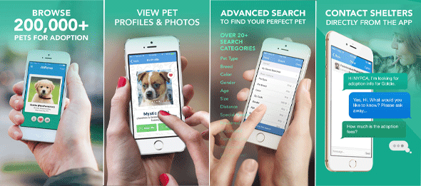 Screenshots of the AllPaws iPhone app
