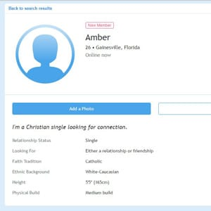 Screenshot of a Christian Connection profile