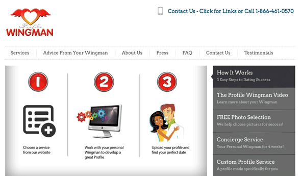 A screenshot of the Profile Wingman sign-up process