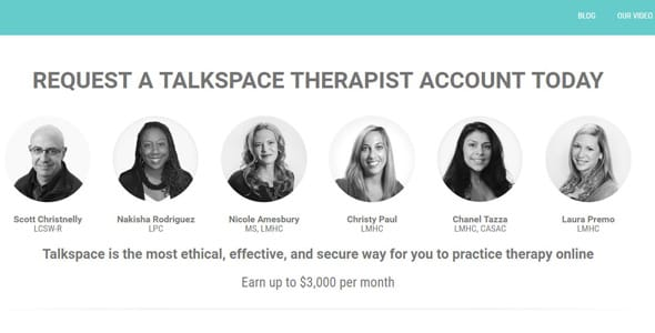 Screenshot of Talkspace's therapist application page