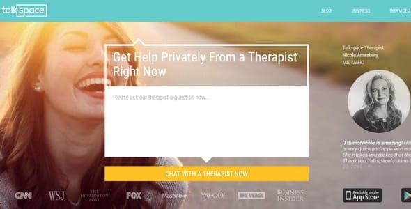 Screenshot of Talkspace's homepage