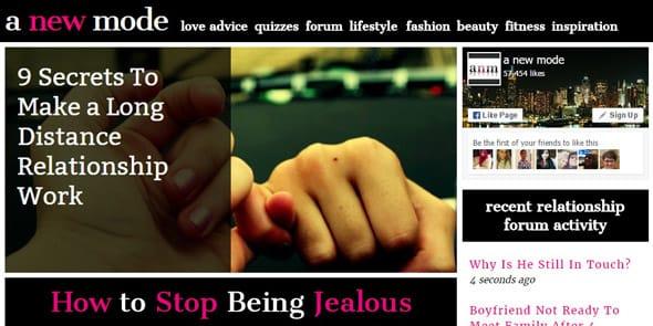 Screenshot of A New Mode's homepage