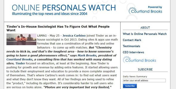 Screenshot of Online Personals Watch's newsfeed