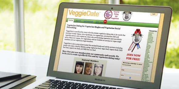 Image of the VeggieDate homepage