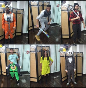 Photo of SNAP Interactive team members in costume for Halloween